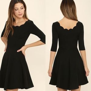 Lulu's Black Scallop Neckline Fit and Flare Dress